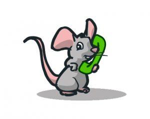 Dessin d'une souris avec un téléphone